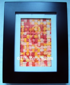 woven paper art - orange-red