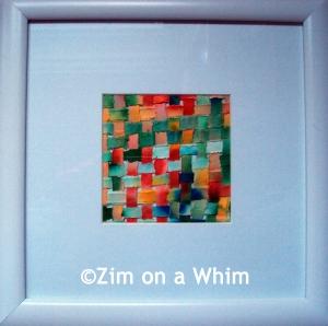 woven paper art - white frame